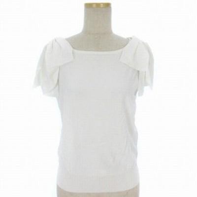 【中古】STRAWBERRY-FIELDS ノアストレッチ?U ニット 半袖 肩リボン クルーネック 白 ホワイト レディース