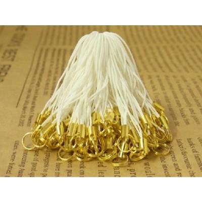 ストラップパーツ 半二重丸カン 8mm ゴールド金具 ホワイト 60mm 約50個 50本 紐 ひも キーホルダー 約6cm アクセサリーパーツ