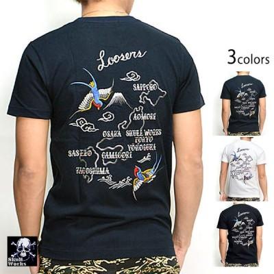 スワローMAP刺繍半袖Tシャツ スカルワークス 111523 アメカジ バイカー SKULL WORKS ツバメ 燕 タトゥー