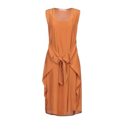 テーラ TELA 7分丈ワンピース・ドレス オレンジ S シルク 100% 7分丈ワンピース・ドレス