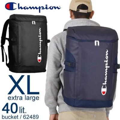 チャンピオン リュック リュックサック ボックス型 ブラック/ネイビー 40リットル Champion バケット 62489