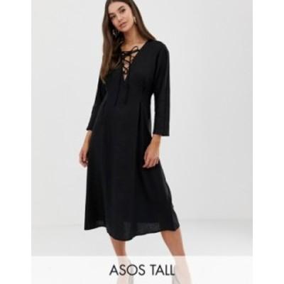 エイソス レディース ワンピース トップス ASOS DESIGN Tall Lace Up midi dress in linen Black