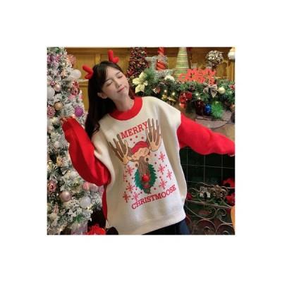 【送料無料】~ 韓国風 複数色 ルース クリスマス 子鹿 セーター 着やせ レース下塗 セット | 346770_A64035-7851832