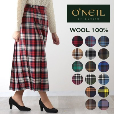 O'NEIL OF DUBLIN ウーステッドウール 100% ロング丈 キルトスカート 83cm オニール オブ ダブリン キルト ラップスカート アイルランド製 タータン チェック