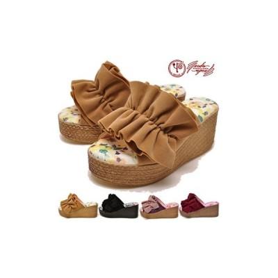 ヨースケ YOSUKE 靴 厚底サンダル レディース フリルリボンデザイン ※(予約)は3営業日内に発送