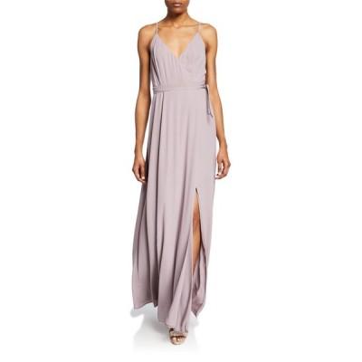 ワイフ レディース ワンピース トップス The Angelina Sleeveless Wrap Gown with Front Slit