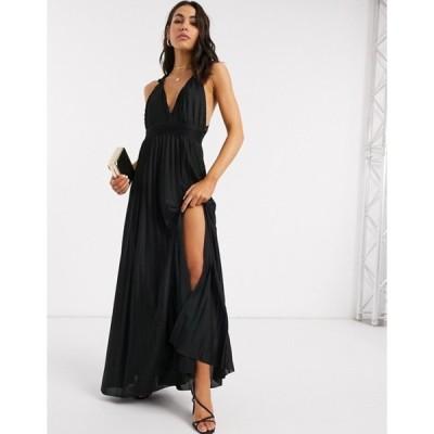 エイソス レディース ワンピース トップス ASOS DESIGN knot strap pleated maxi dress in black