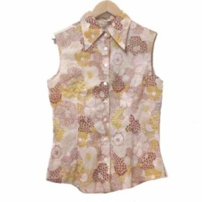 【中古】ミュウミュウ miumiu ノースリーブシャツ 総柄 38 日本サイズS相当 ピンク系 コットン ECR2 X レディース
