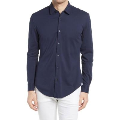 ヒューゴ ボス BOSS メンズ シャツ スリム トップス Ronni Slim Fit Microstripe Button-Up Shirt Dark Blue