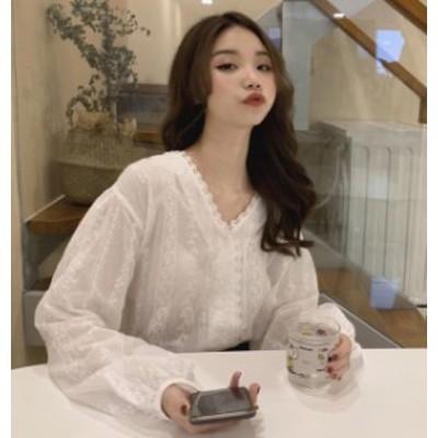 ブラウス レディース 長袖 白 レース トップス 韓国 ファッション シャツ Vネック 透け感 ゆったり オルチャン 上品 フェミニン 大人可愛
