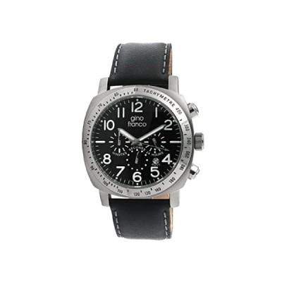 特別価格gino franco Men's 910BK Round Chronograph Stainless Steel Genuine Leather S好評販売中