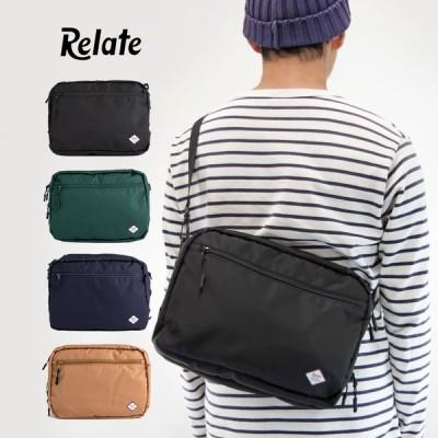 【Relate リレイト】コーデュラファブリック ショルダーバッグ 横型ショルダー ベージュ グリーン ブラック ネイビー BAG ユニセックス 男女兼用