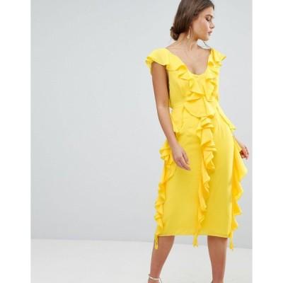 エイソス ミディドレス レディース ASOS DESIGN sleeveless midi dress with soft ruffles エイソス ASOS 日本未入荷 新作 人気 ミディアム インポート