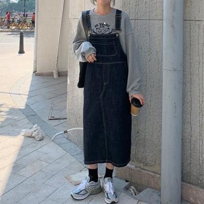 デニムサスペンダースカート 韓国 ドレス レディース オーバーオール ロングスカート