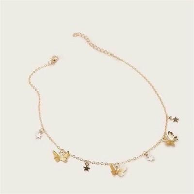 自由奔放に生きる かわいい 蝶 女性 ゴールドシルバー色の鎖骨の襟 ネックレス ステートメント動物 ジュエリー
