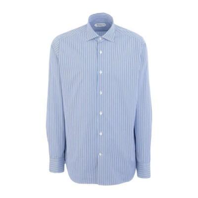 GUGLIELMINOTTI ストライプ柄シャツ  メンズファッション  トップス  シャツ、カジュアルシャツ  長袖 アジュールブルー