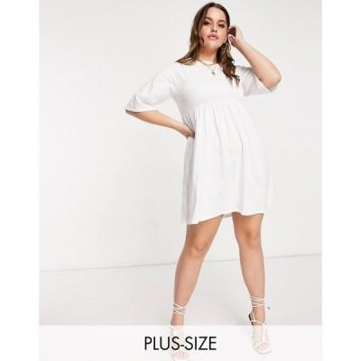 ファッションキラー Fashionkilla Plus レディース ワンピース Tシャツワンピース シャツワンピース oversized t-shirt dress with sheering detail in white