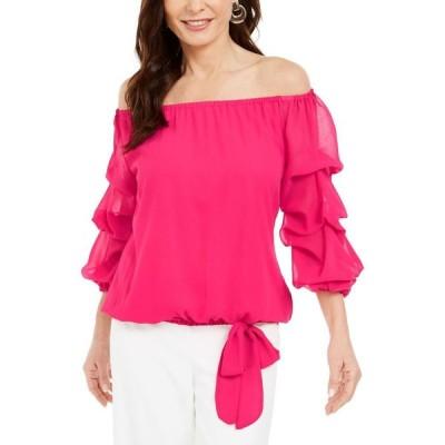 MSK レディース オフショルダー トップス Off-The-Shoulder Puff-Sleeve Top Cerise Pink