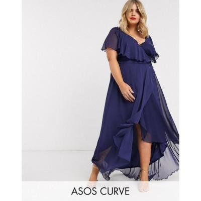 エイソス ドレス 大きいサイズ レディース ASOS DESIGN Curve cape back dipped hem maxi dress エイソス ASOS ブルー 青