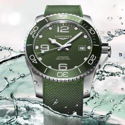 LONGINES 浪琴 深海征服者浪鬼陶瓷潛水機械錶-綠/41mm L37814069