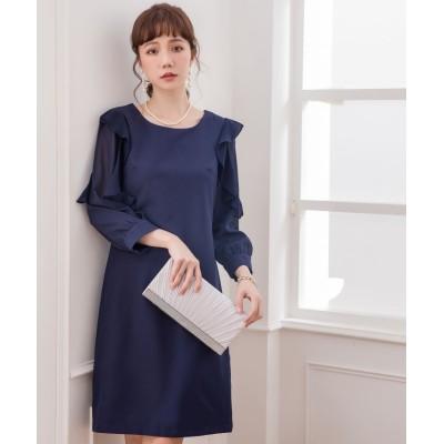 【ドレス スター】 フレア&ふんわりシフォンスリーブパーティードレス レディース ネイビー XXLサイズ DRESS STAR