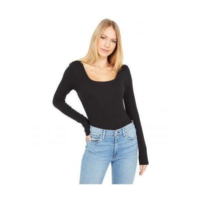Madewell レディース 女性用 ファッション トップス シャツ Square-Neck Thong Bodysuit - True Black