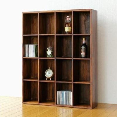 飾り棚 ディスプレイラック 天然木製 無垢材 カップボード 文庫本本棚 収納 CDラック DVDラック シーシャムウッドフリー棚16