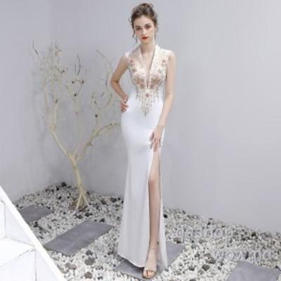 レディース 宴会ドレス フォーマルウエア 2019 新品 セクシー ロングドレス 忘年会 パーティ 宴会