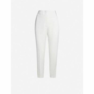 ピンコ PINKO レディース クロップド ボトムス・パンツ Frullato cropped high-rise tapered crepe trousers Beige betulla