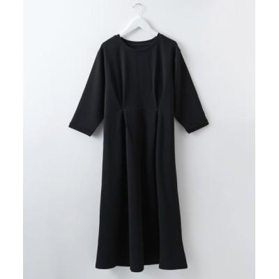 ふくれジャガードウエストタックデザイン7分袖ワンピース (ワンピース)Dress