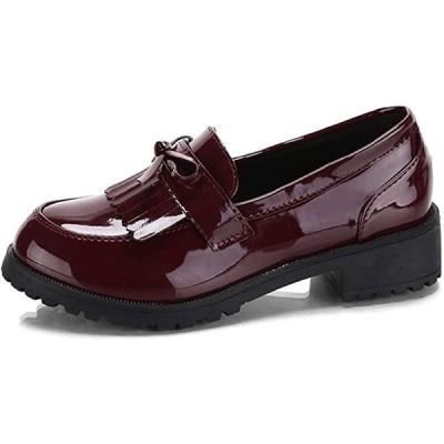 光沢 ローファー レディース 厚底 4cm ヒール タッセル 靴 シューズ エナメル パンプス(ボルドー, 23.0〜23.5 cm)