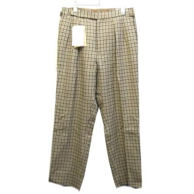 Kaptain Sunshine 「Two Pleats Trousers」チェックトラウザーパンツ ベージュ サイズ:32 (新宿店) 200211