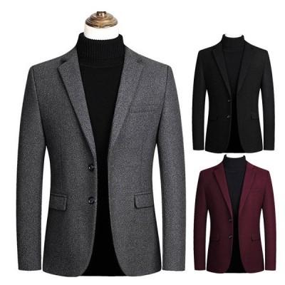 チェスターコート メンズ アウター コート ジャケット ウール ウールコート ロングコート ステンカラーコート ビジネス 黒 ブラック 赤 ワインレッド