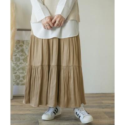 スカート サテンティアードスカート