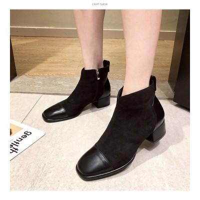新作ショートブーツレディース黒ショートブーツレディースブーツ靴厚底ショートブーツ歩きやすい