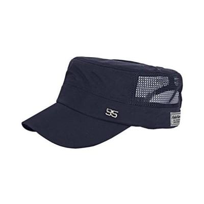 帽子 メンズ uvカット メッシュキャップ 通気速乾 夏帽子 ワークキャップ uv つば付き帽子 男性 日よけ帽子 かっこいい 無地 (ネイビー)