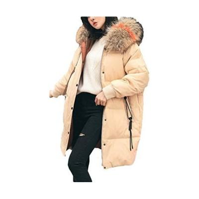 [サ二ー] レディース 秋冬 ブルゾン フード付き ダウンジャケット 暖かい 中綿コート 体型カバー ロング丈 ?
