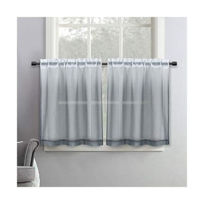 SeeGlee Grey Ombre Linen Look Tier Short Sheer Curtains - 36 Inch Width by 36 Inch Length Shee Curtains for Cafe ,Half Window Gauze Curtain