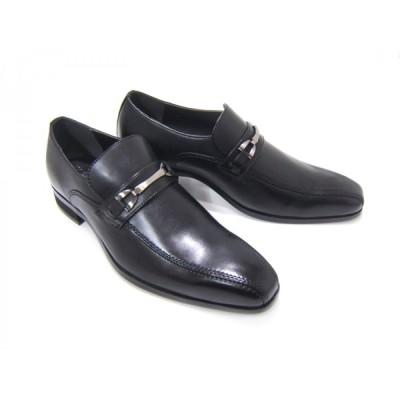 HIROKO KOSHINO/ヒロコ コシノ ビジネス HK120紳士靴 ブラック スワールモカ ビット付き ロングノーズ3Eワイズ ビジネス 送料無料