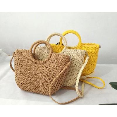 レディースかごバッグ トート 草編みバッグ レディース 籐のかごバッグ 肩掛け ハンドバック シンプル 安い ショルダー おしゃれ カゴバッグ