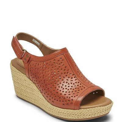 ロックポート レディース サンダル シューズ Cobb Hill Erika Slingback Perforated Leather Platform Wedge Sandals Russet Red
