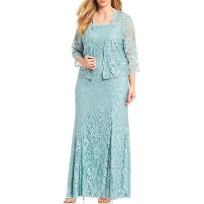 ルボ レディース ワンピース トップス Plus Size Embroidered Stretch Lace Square Neck 2-Piece Jacket Dress