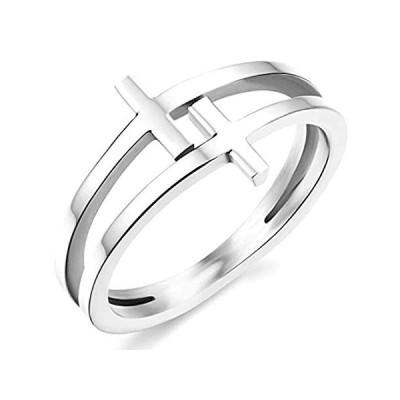 Kingray Jewelry ステンレススチール ダブルクリスチャンクロスリング サイズ4-12