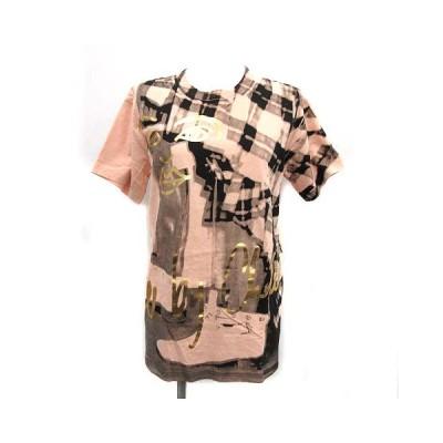 【中古】シーバイクロエ SEE BY CHLOE Tシャツ カットソー 半袖 ロゴ 総柄 オーバーサイズ S ベージュ ブラック 黒 /KH レディース 【ベクトル 古着】