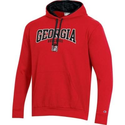 チャンピオン Champion メンズ パーカー トップス Georgia Bulldogs Red Pullover Hoodie