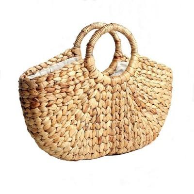 Cheng-store 手織りの半円形ストローバッグ休日のビーチバッグ不織布トートバッグハンドバッグ