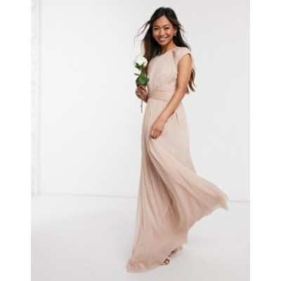 エイソス レディース ワンピース トップス ASOS DESIGN Bridesmaid ruched bodice maxi dress with cap sleeve detail Soft blush