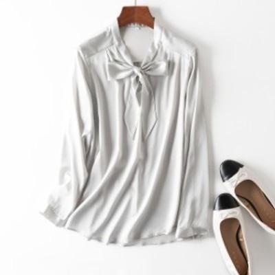 ドロップショルダー レディース シャツ シルク ゆったり 長袖 きれいめ 無地 リボンタイ 体型カバー 大人可愛い 大きいサイズ 春夏