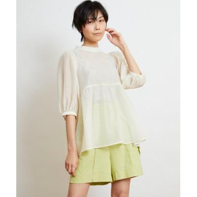 (w closet/ダブルクローゼット)前身刺繍入りシアーボリューム袖プルオーバー/レディース キナリ