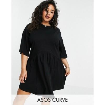 エイソス レディース ワンピース トップス ASOS DESIGN Curve oversized mini smock dress with dropped waist in black